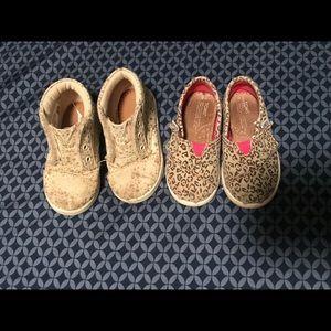 Girls 6T Toms Canvas Leopard print canvas shoes